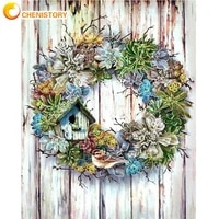 chenistory oil painting by numbers garland on door landscape picture by number hand painted unique gift home decor wall paints