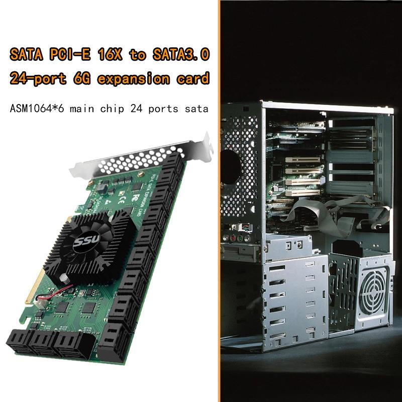 Chi a Mining Riser 24 Port SATA PCI Express X16 Controller SATA PCI-E Adapter PCIE SATA Add On Card PCIE to SATA3 Expansion Card