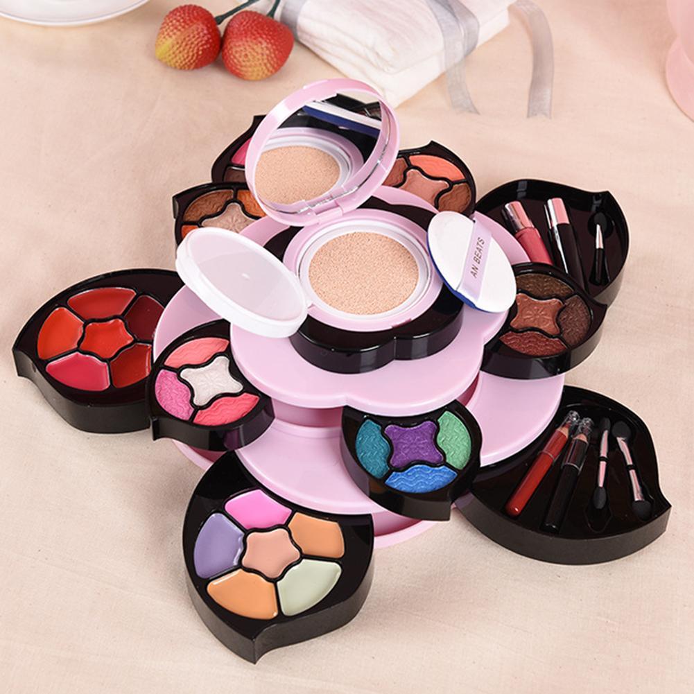 Multi-color giratorio gran flor multifuncional paleta de maquillaje sombra de ojos lápiz labial corrector placa principiante Kit de maquillaje conjunto de regalo