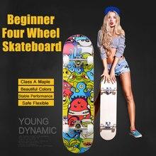 Kind Skate Bord Vier-Whee Skateboard Straße Skate Board Outdoor Sport Lange Bord Skates Roller Holz Skateboard