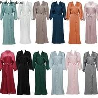 silk satin long robes long sleeve bridesmaid robes bride robe women long solid wedding bathrobe and homewear
