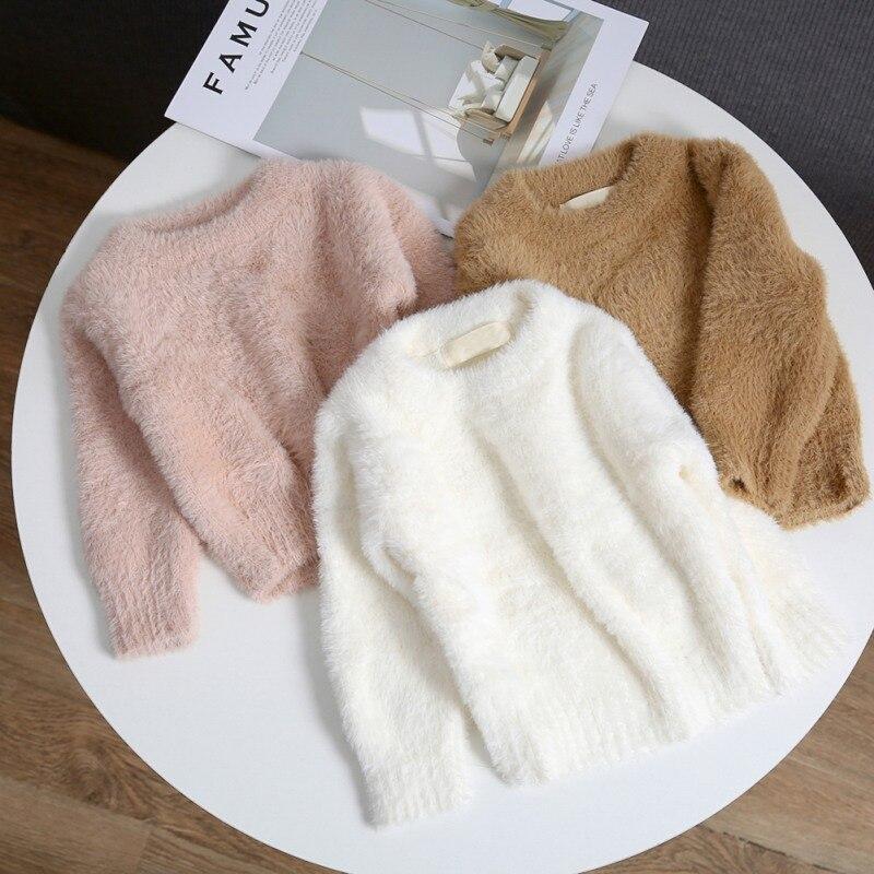 Bebé niño niña sólido suéter otoño invierno Niño cálido manga larga Tops blusa ropa