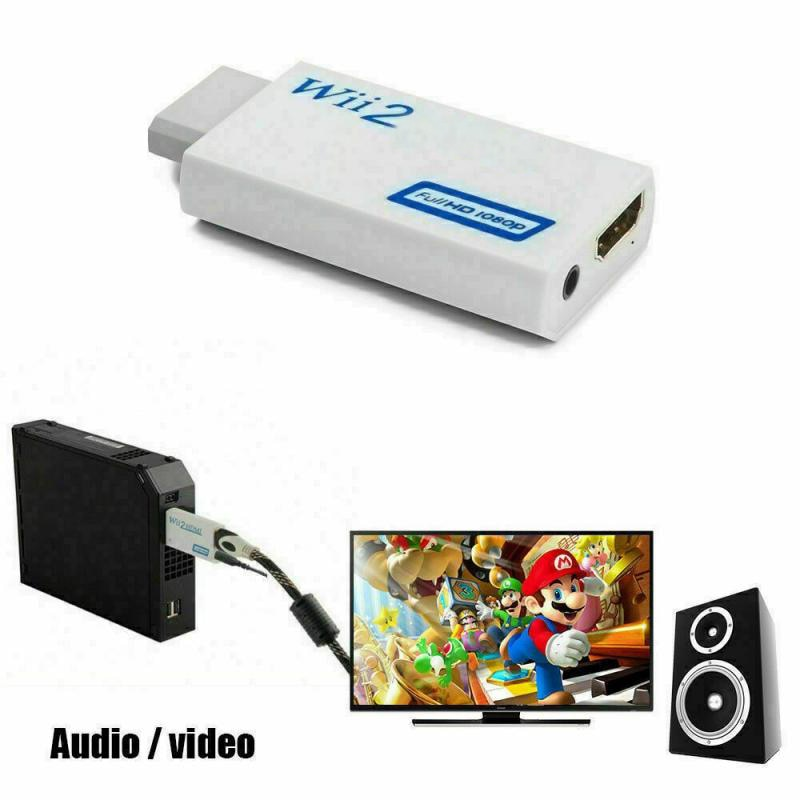 Portable Wii to HDMI-compatible Wii2 HDMI-compatible Full Video Cable HD TV Converter White Audio Output Adapter TXTB1