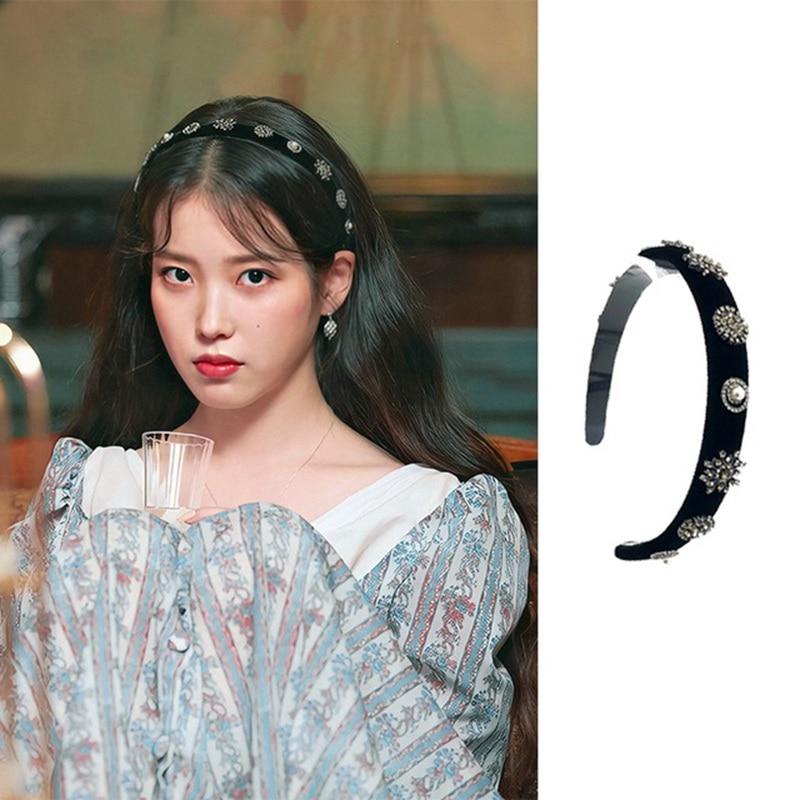 2019 Drama de TV Coreano Estrela Do Floco de Neve de Veludo Brilhante Rhinestone Headband Para Diária Feminino Acessórios de Cabeça