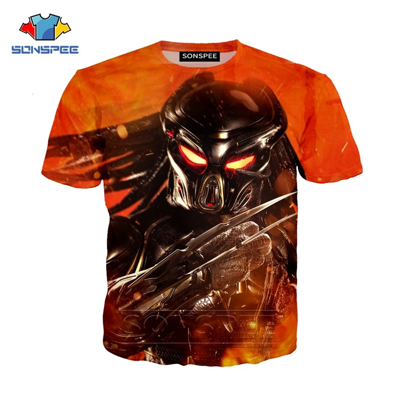 SONSPEE 3D imprimir el depredador de los hombres, camiseta de verano Streetwear Horror alienígena de película de manga corta Hip Hop jersey de Harajuku camisetas Tops