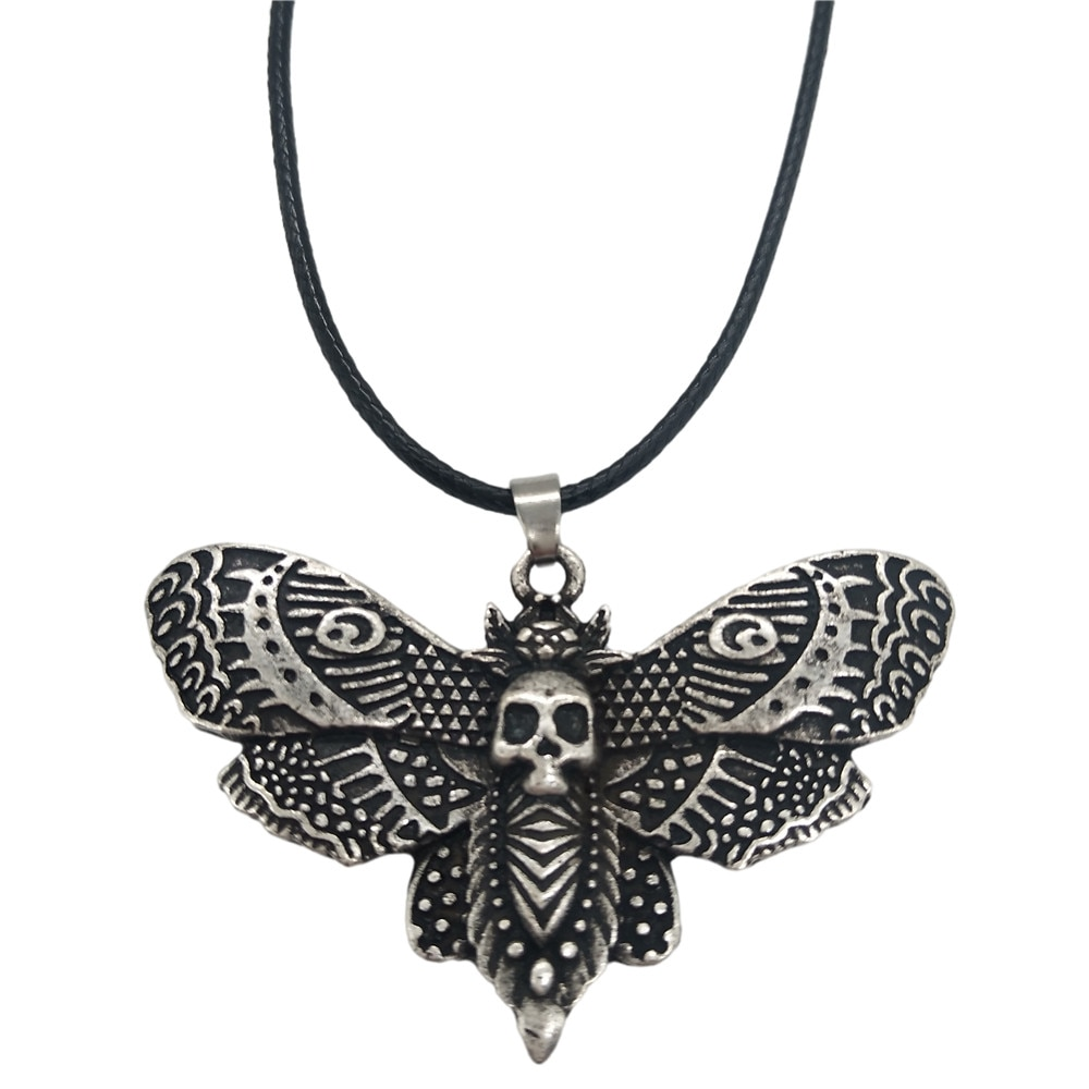 Wiccan Supplies Crescent Moon On Death Moth Jewelry Butterfly Insect Pendant Wicca Mens Jewlery Punk Necklace Dropship Suppliers