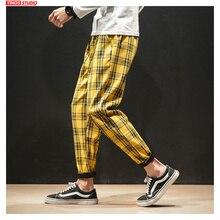 Dropshipping יפני Streerwear גברים משובץ מכנסיים 2020 סתיו אופנה רזה גבר קוריאני זכר הרמון מכנסיים