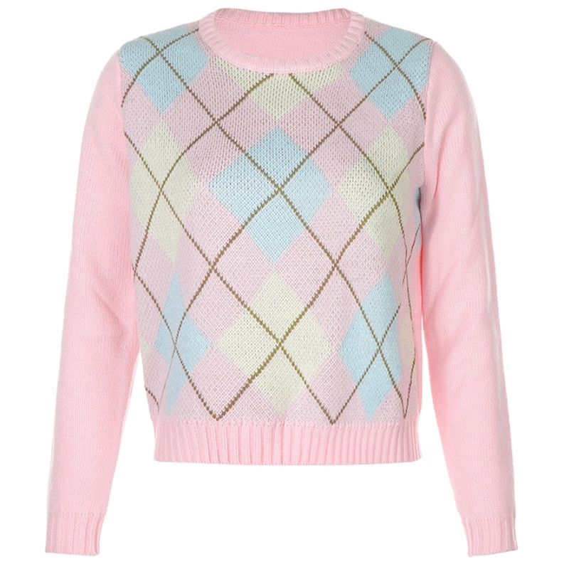 Women Long Sleeve Pink Sweater Crew Neck Argyle Plaid Knitted Loose Jumper Tops enlarge