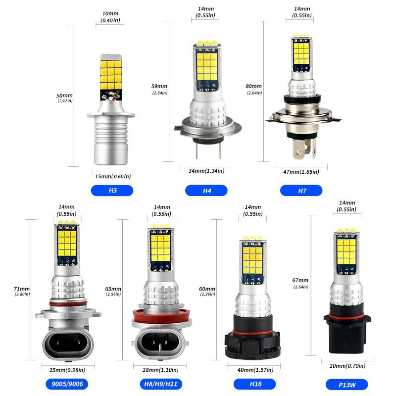 2pcs Car Fog Lights Bulb H8 Bulb H3 H4 H7 H9 H11 H16 9005 9006 PSX26W P13W Super Bright Two-Color Front Fog Lamp Accessories 12V