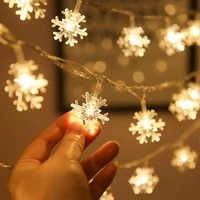 new 6m 40leds led snowflake string lamp usb battery oprearted garland fairy lights for party holiday christmas decoration