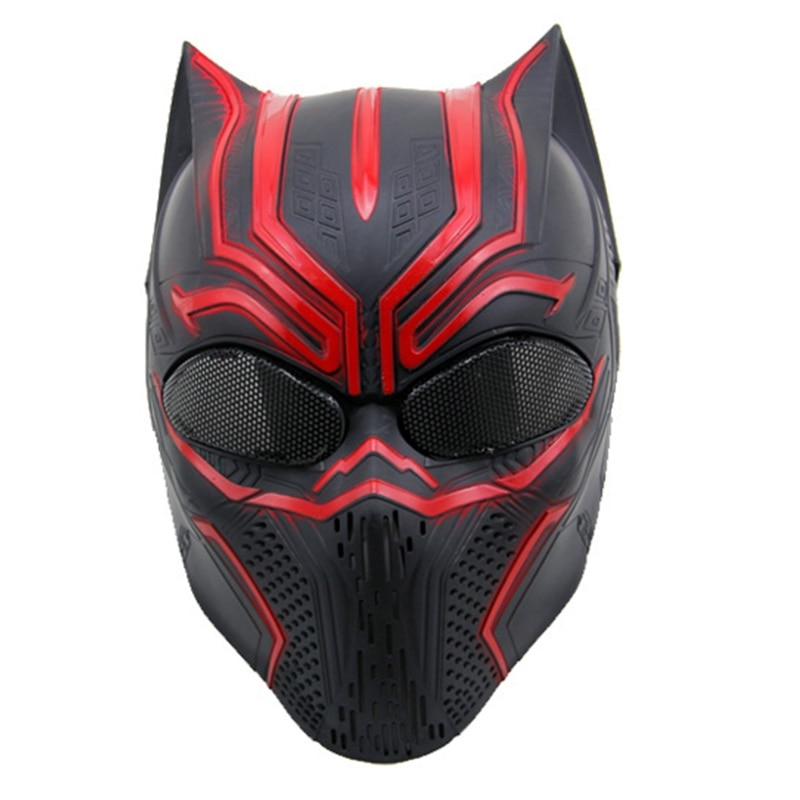 Tactical Black Panther Paintball Mask Airsoft Accessories Cosplay Halloween Party Full Face Masks Military Wargame Protection недорого