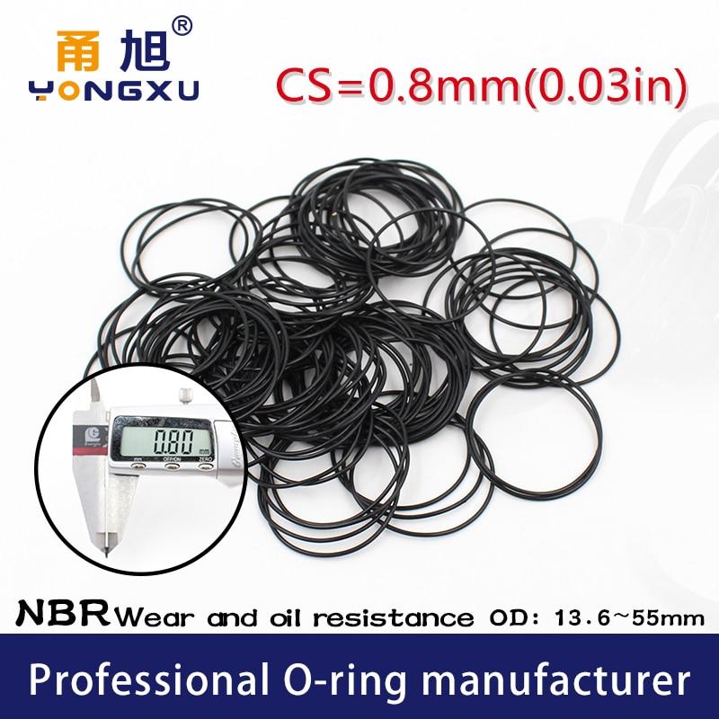 Nitrile Rubber 10PCS/lot Black NBR CS 0.8mm thickness OD13.6/18/22.3/25/30.6/32.8/42/47/55*0.8mm ORing Gasket waterproof watch
