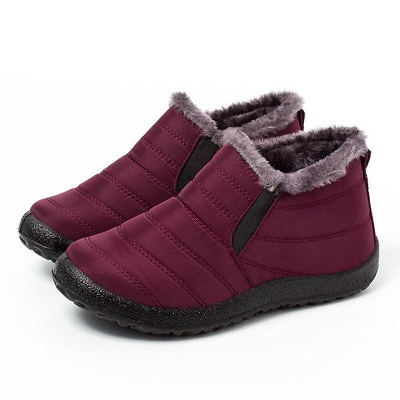 Botas de Neve Botas de Tornozelo para as Mulheres Sapatos de Inverno Femininas à Prova Sapatos de Veludo Lakeshi Inverno Quente Mulher Botas Dvelvet Água Curto
