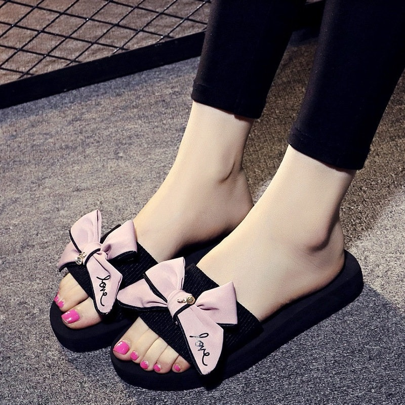 Summer Women's Wedges Sandals Slippers with Bow Slides Outside High Heels Beach Female Slippers