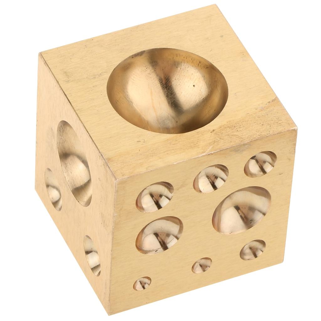 Herramientas de fabricación de joyas de cuentas modeladoras de Metal de bloque de Dapping de cobre sólido