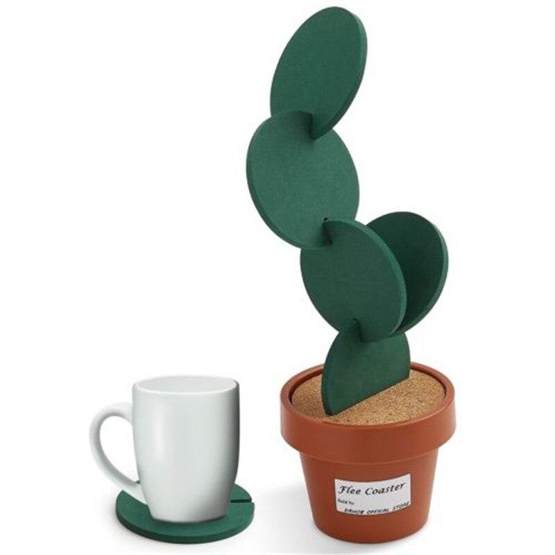 Posavasos creativo con forma de Cactus en maceta, posavasos redondos con aislamiento térmico, decoración de mesa, accesorios de cocina
