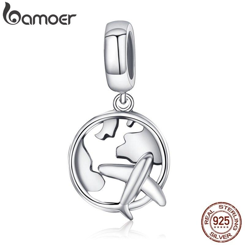 BAMOER, auténtica Plata de Ley 925, mapa de viaje de sueño y cuentas de encanto plano, pulseras de encanto, joyería de moda DIY S925 SCC242