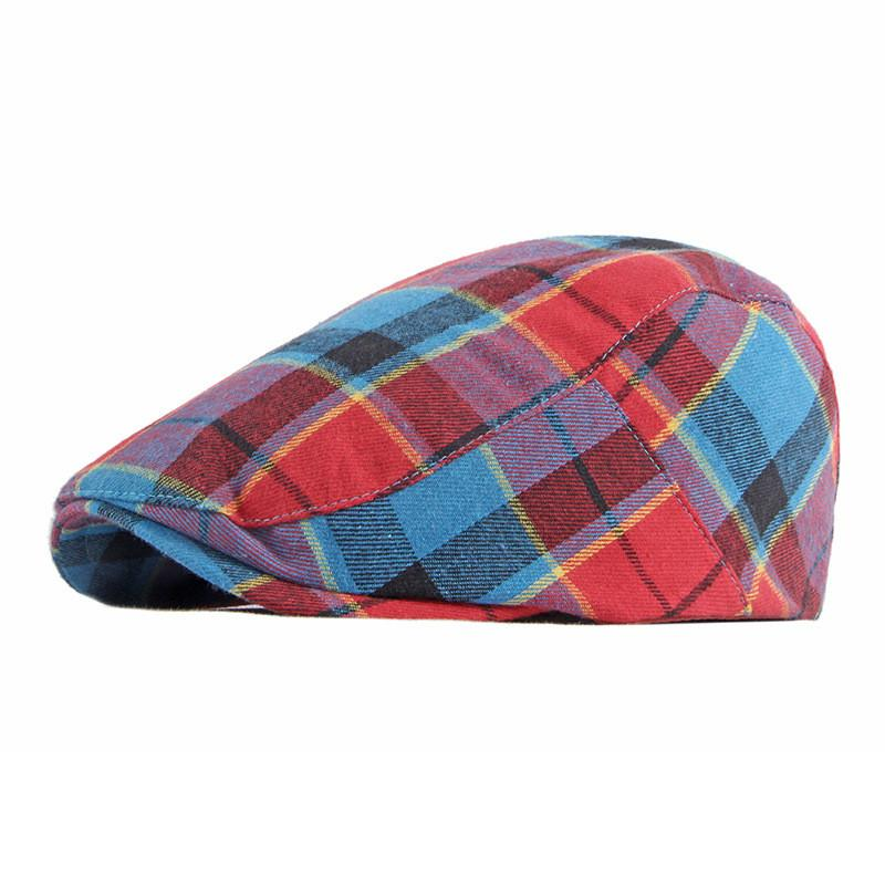 Polyester Autumn Winter Fashion Colorful Plaid Newsboy Caps Flat Peaked Cap Men and Women Painter Be