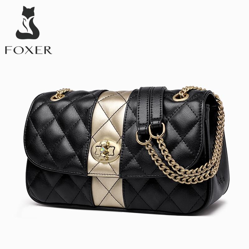 FOXER سلسلة نسائية حزام حقيبة ساعي شعرية الماس رفرف سيدة عالية الجودة جلدية السيدات حقائب كتف هدية عيد الحب
