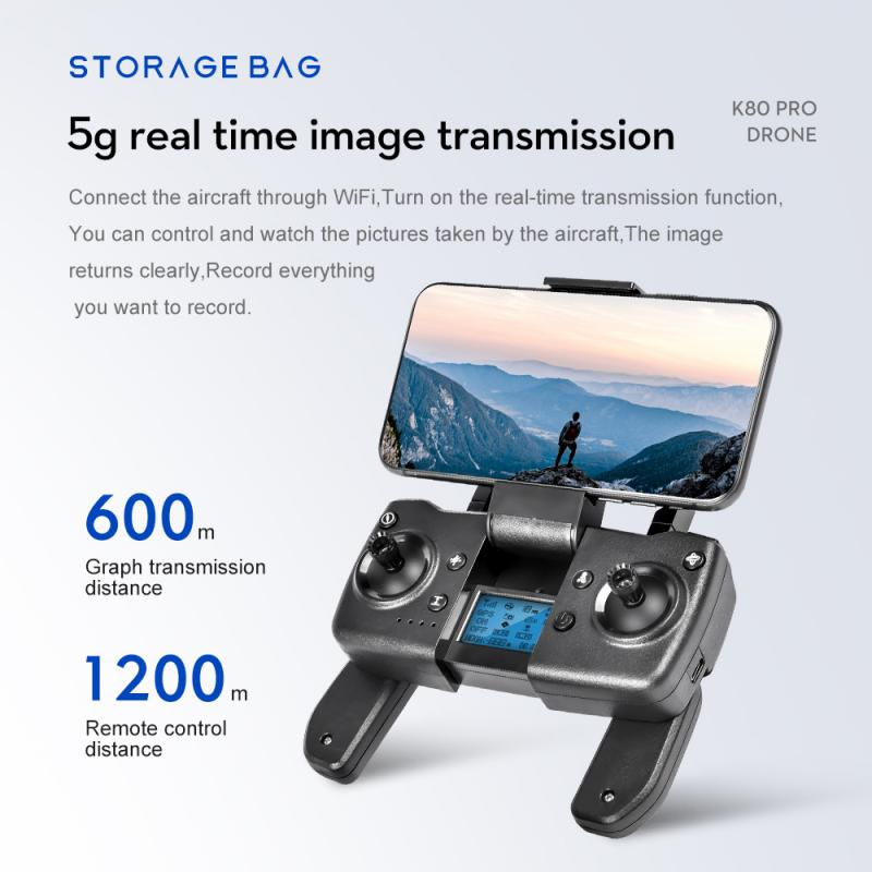 NEW K80 PRO GPS Drone 5G 8K Dual HD Camera Professional Aerial Photography Brushless Motor Foldable Quadcopter RC Distance 1200M enlarge