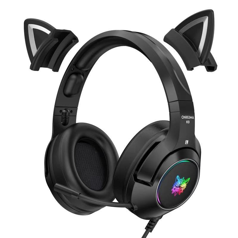 New product K9 pink cat ear cute girl gaming headset with mic ENC noise reduction HiFi 7.1 channel RGB wired headphone enlarge
