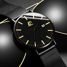 2021 Mens Fashion Business Minimalist Watches Luxury Ultra-thin Stainless Steel Mesh Belt Analog Qua