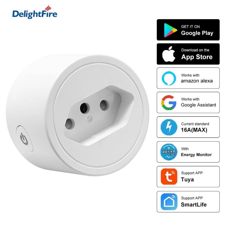 Brazil Smart Socket WIFi Smart Plug With Tuya SmartLife Power Timer Voice Control 16A Surge protector Work For Alexa Google Home