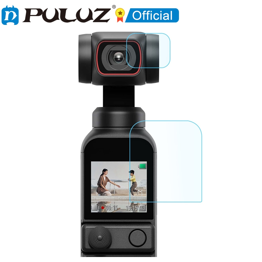 PULUZ-Protector de lente de vidrio templado 9H 2.5D HD + pelcula de pantalla para DJI OSMO Pocket 2, pelcula de vidrio Protector