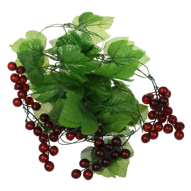 2x Artificial Grape Vine Garland Fruit for Home Garden Decoration
