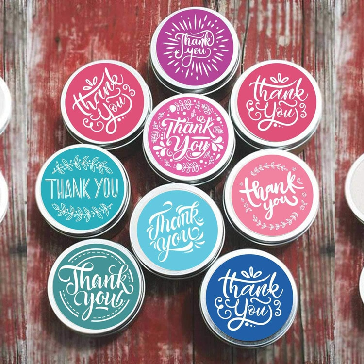 Cute Floral Round Thank You Sticker DIY Personalized Gift Baking Decoration Gift Packaging Label