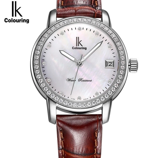 Ik Colouring ladies luxury mechanical stainless steel automatic watch ladies hollow watch luminous hands automatic date klockor enlarge