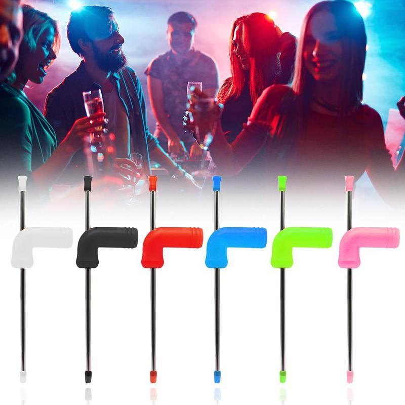 1PC Beer Snorkel Straw Beer Bong Funnel Slammer Double Snorkel Drinking Beer Bar Tools Festivals Party Dispenser Y1F5