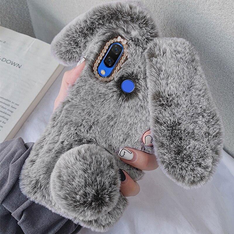 Flauschige Kaninchen Pelz Silikon Bunny Plüsch abdeckung Für Xiao mi A3 mi Max 2 mi 9T A2 lite Rot mi 8 8T 8A 7A 6A 5A 4X Hinweis 5 6 7 Pro Fall