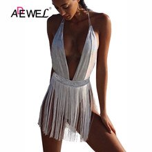 ADEWEL Sexy moulante body blanc frange body maillot de bain col en V profond body femmes gland salopette corps mujer hauts avec coussinet