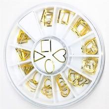 1 roue coeur Nail Art décorations mignon 3d métal Rivet or Triangle autocollants hybride japon Steampunk Bling Bling bricolage accessoires