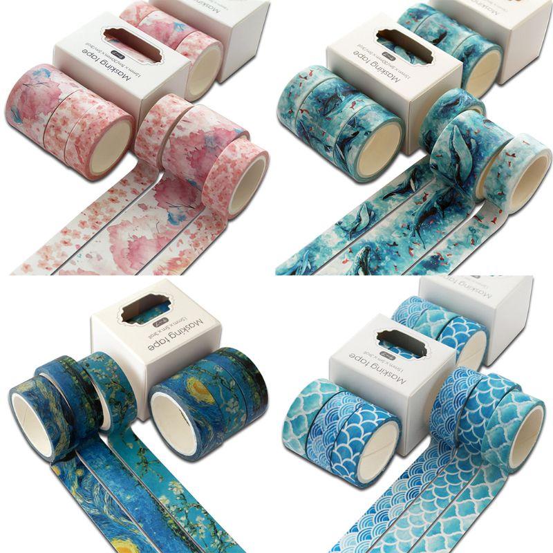 3 pièces océan Washi ruban ensemble mignon ruban adhésif bricolage décoration autocollant Scrapbooking journal ruban de masquage 19QA