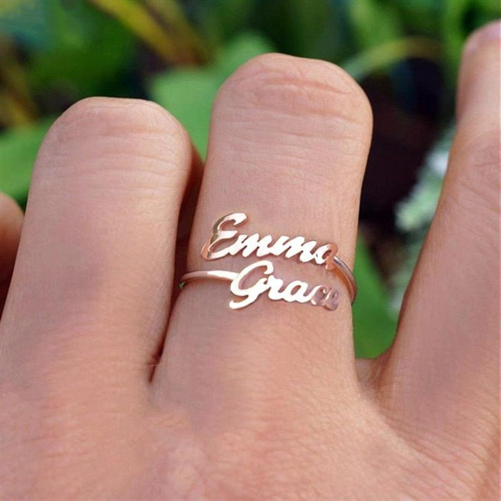 Customized Two Name Rings Stainless Steel Rings for Women Gold Personalized Couples Names on Ring Wedding Jewelry Gifts freeshipping personalized carrie style two finger silver name rings couples name ring custom name jewelry