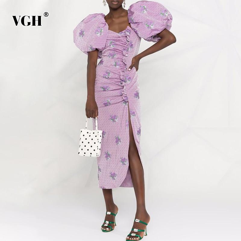 فستان مطبوع أنيق بنفسجي من VGH للنساء بياقة مربعة وأكمام قصيرة بوسط عالي وأربطة بعقدة على شكل فيونكة فساتين نسائية جديدة 2021