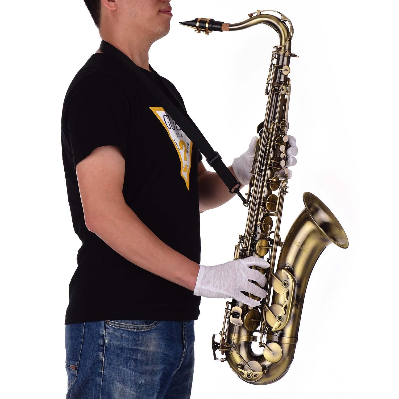 Corpo de Bronze Instrumento com Case de Transporte Acabamento Antigo Tenor Saxofone Sax Branco Escudo Chaves Woodwind Luvas Pescoço Cintas bb