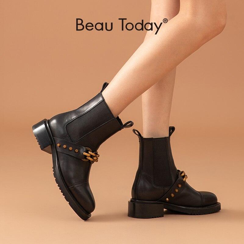 BeauToday تشيلسي أحذية النساء جلد العجل سلسلة معدنية برشام ديكور شريط مرن طول الكاحل أحذية نسائية اليدوية 03852