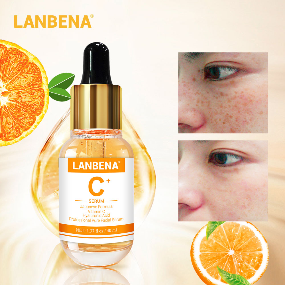 LANBENA VC Whitening Serum Essential Oils Facial Essence Remover Speckle Fade Dark Spots Brighten Nourishing Skin Care 40ml