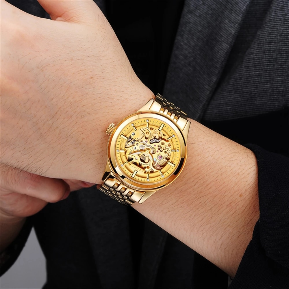 AESOP Gold Automatic Watch Man Woman Couple Lover's Fashion Luminous Skeleton Mechanical Wristwatch Luxury Reloj Hombre Mujer enlarge