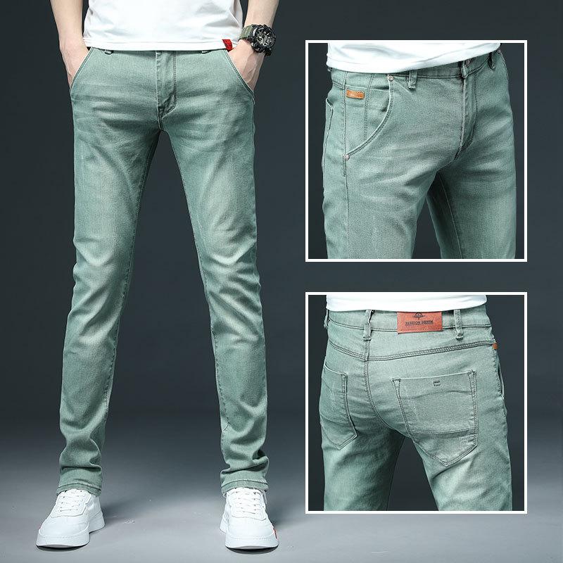Джинсы мужские зауженные, модные повседневные брюки из денима, стрейч, цвет зеленый/черный/хаки/белый