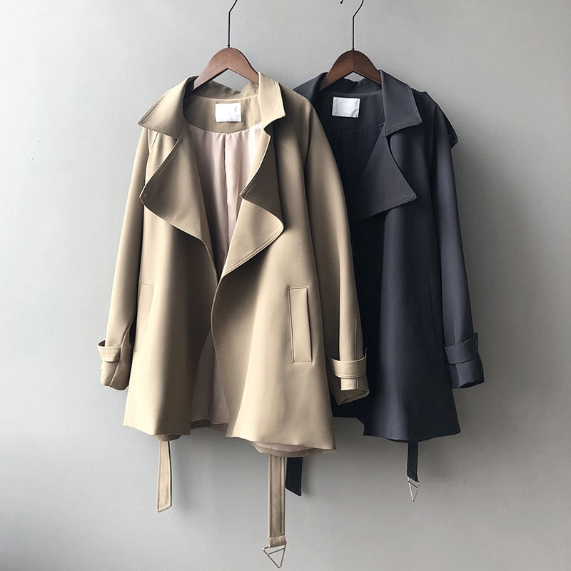 Chatbelt temperament of spring new fund is loose in pure color long coat female CS030