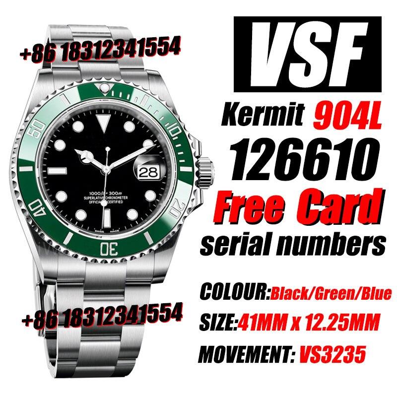 Men's Luxury Watch Sub 41mm x 12.25mm 126610 Kermit 904L Steel VSF Best Edition VS3235 72hours Power Reserve High Quality Watch