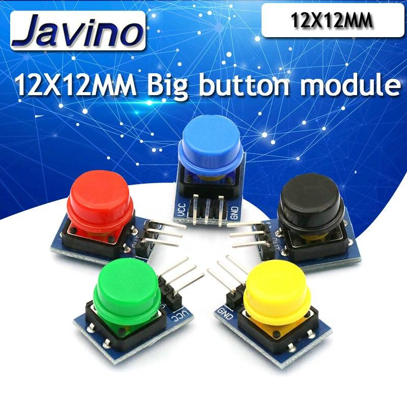 5 uds. 12X12MM Módulo de tecla grande Módulo de botón grande MÓDULO DE Interruptor táctil de luz con sombrero de salida de alto nivel para arduino o raspberry pi 3