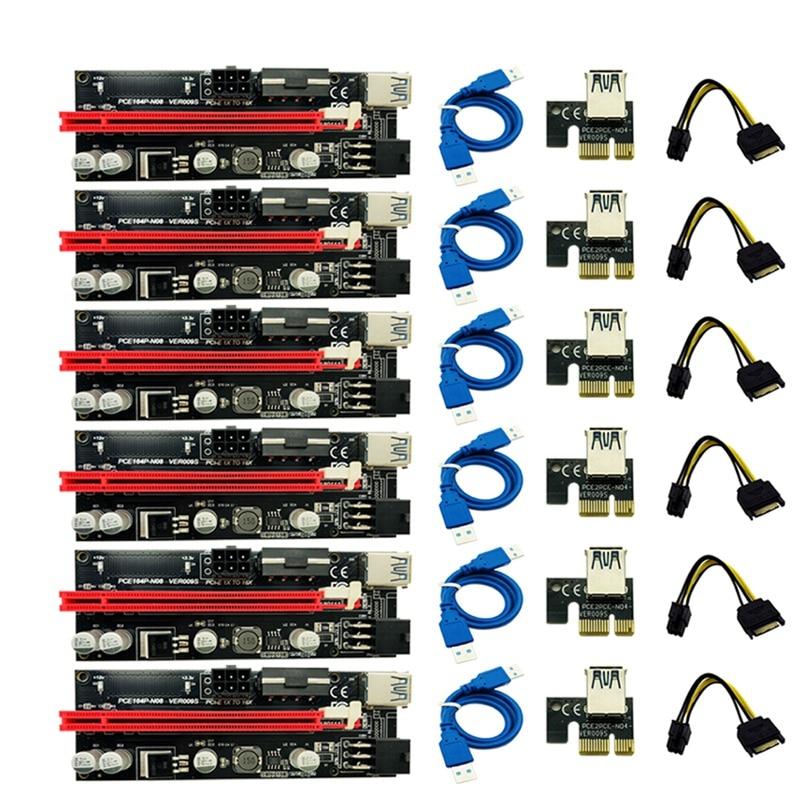 6 قطعة أحدث Ver009 Usb 3.0 Pci-E Riser Ver 009S Express 1X 4X 8X 16X موسع الناهض محول بطاقة Sata 15Pin إلى 6 دبوس كابل الطاقة