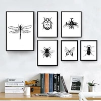 insects ink drawing canvas art posters and prints ladybird butterfly nursery wall art painting pictures kitchen home wall decor