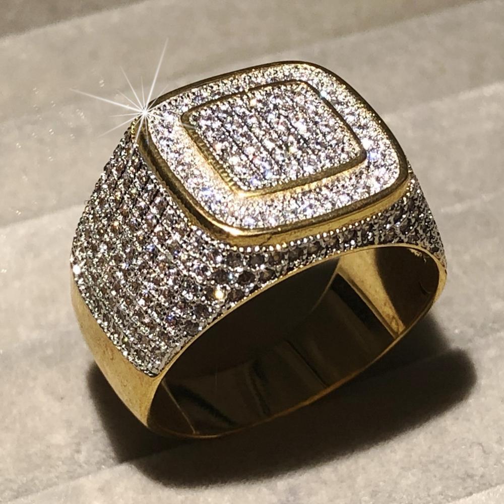 Роскошное кольцо в стиле хип-хоп с микро-кристаллами sona, покрытое золотом и серебром 925 пробы, кольца в стиле хип-хоп для мужчин, ювелирное из...