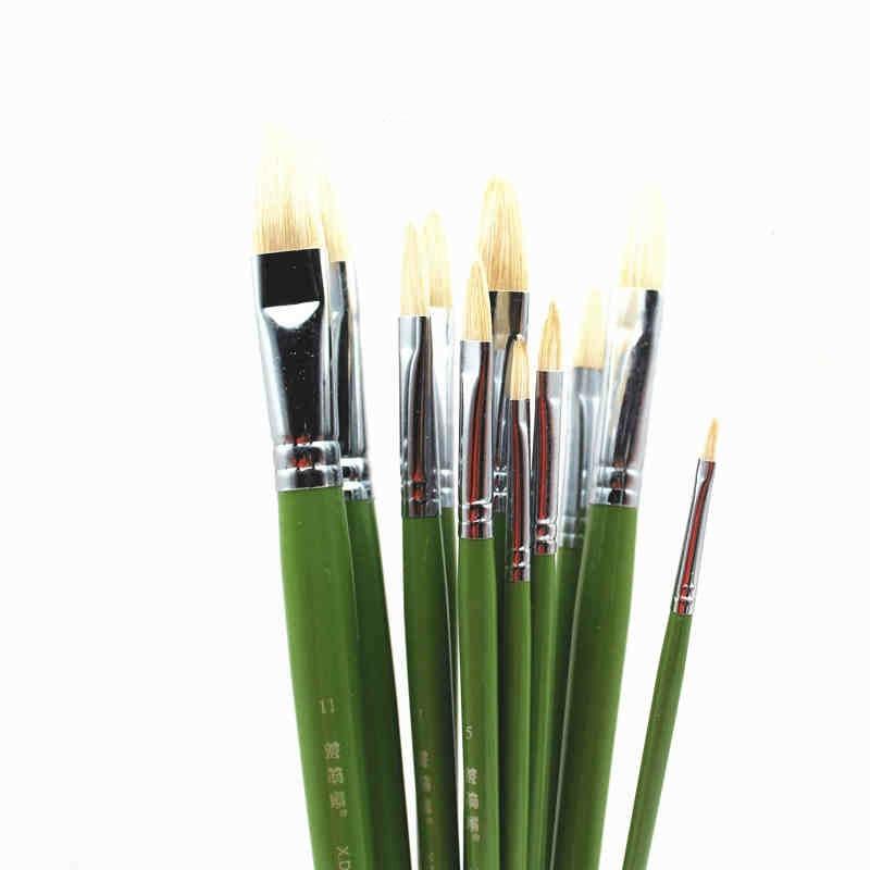 12 Uds Pintura cepillo de Pintura de agua aceite Color acrílico cerdas...